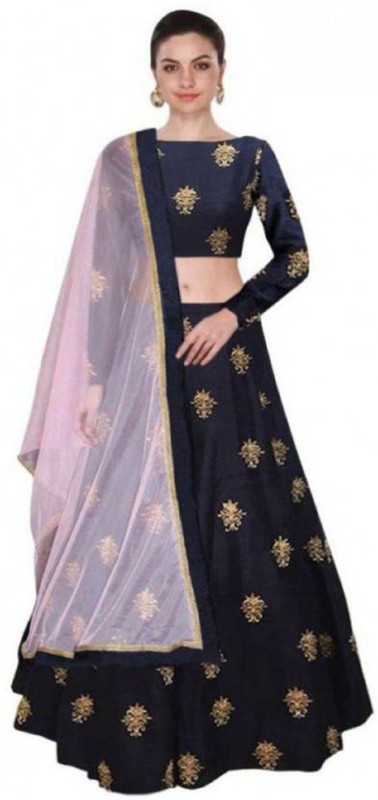 Minifly Embellished Semi Stitched Lehenga, Choli and Dupatta Set(Dark Blue)