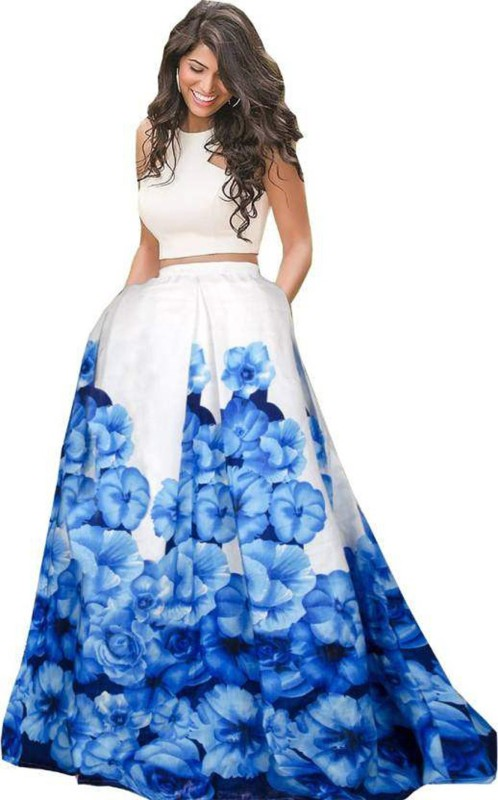 KUSUM FASHION Floral Print Lehenga Choli(Blue, White)