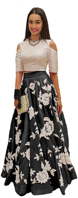 KUSUM FASHION Applique Lehenga Choli(Black, White)