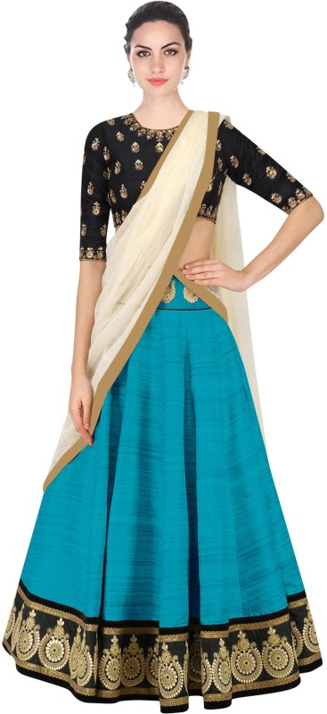Minifly Self Design Lehenga, Choli and Dupatta Set(Blue)