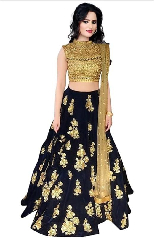 21st Fashion Embellished Semi Stitched Lehenga, Choli and Dupatta Set(Blue)