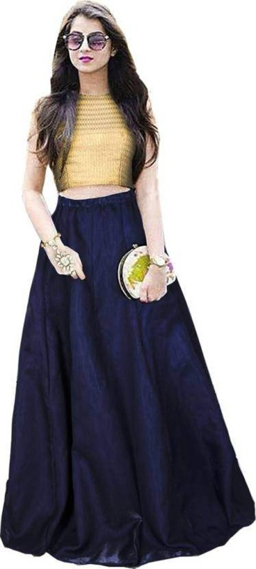 KUSUM FASHION Solid Lehenga Choli(Blue)