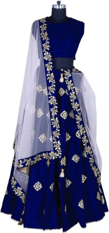 KUSUM FASHION Embroidered Semi Stitched Lehenga, Choli and Dupatta Set(Blue)