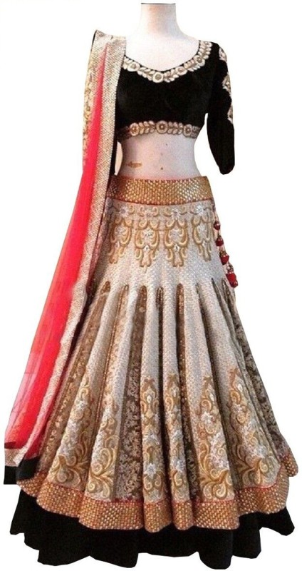 Minifly Embroidered Lehenga, Choli and Dupatta Set(Beige, Black)