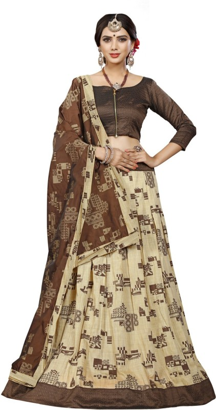 MINIFLY Printed Semi Stitched Lehenga, Choli and Dupatta Set(Beige)