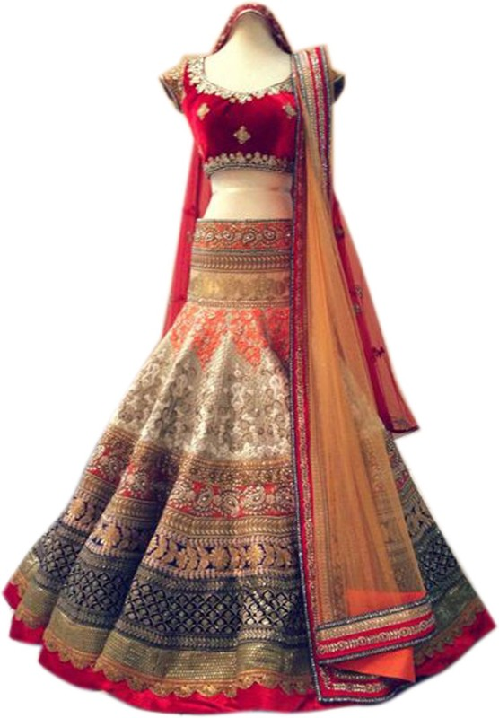 Minifly Embroidered Lehenga, Choli and Dupatta Set(Beige)