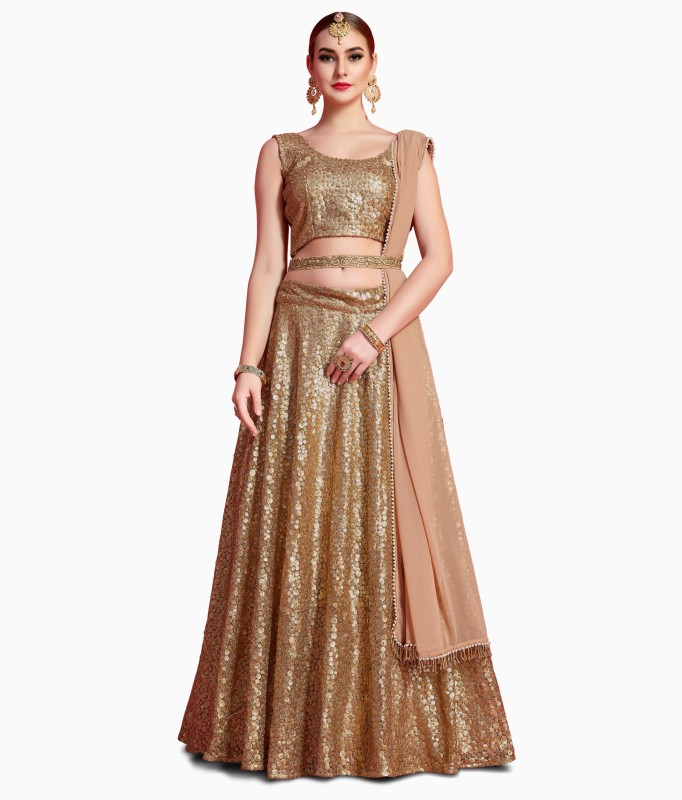 Fabron Embellished Semi Stitched Lehenga, Choli and Dupatta Set(Gold)
