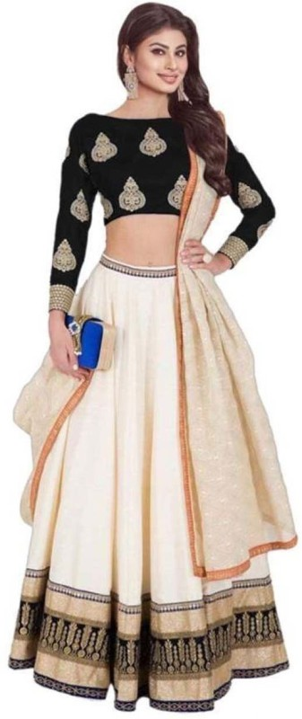 MINIFLY Embellished Semi Stitched Lehenga, Choli and Dupatta Set(Beige)