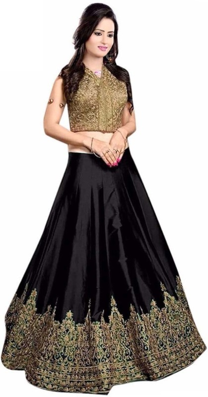 KUSUM FASHION Embroidered Lehenga Choli(Black)