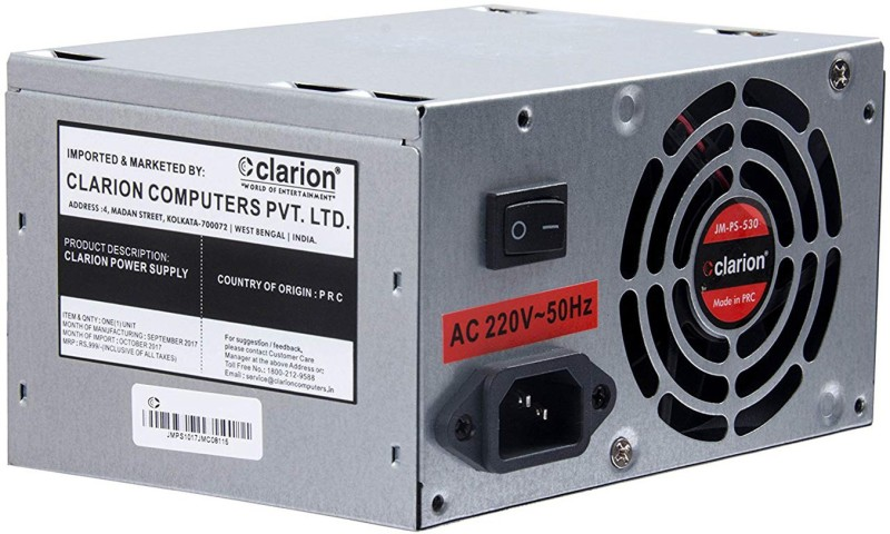 clarion SMPS 500 WATT Computer Desktop Power Supply 500 Watts PSU(Multicolor)