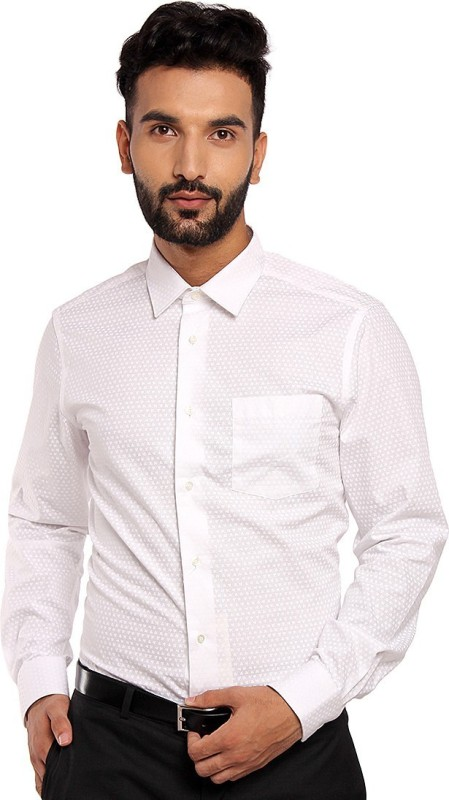 Blackberrys Men Printed Formal White Shirt