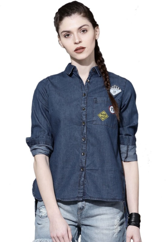 Roadster Women Solid Casual Blue Shirt