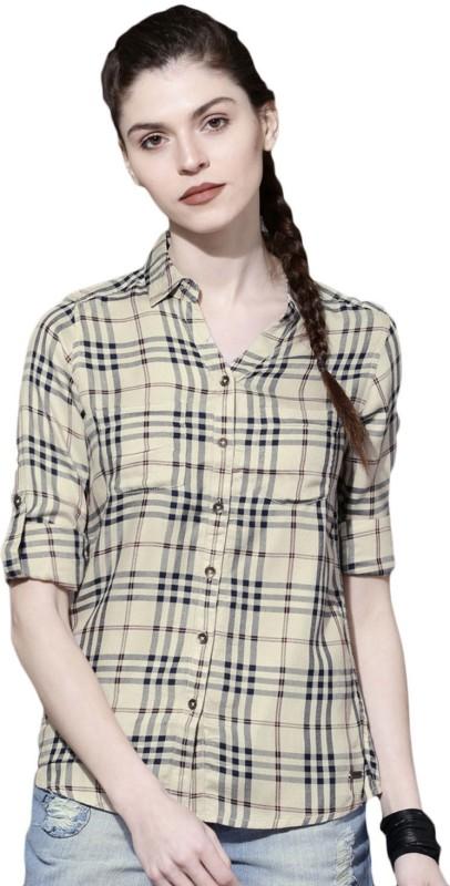 Roadster Women Checkered Casual Beige Shirt