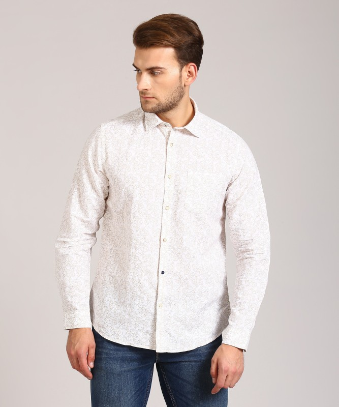 Blackberrys Men Printed Casual Beige Shirt