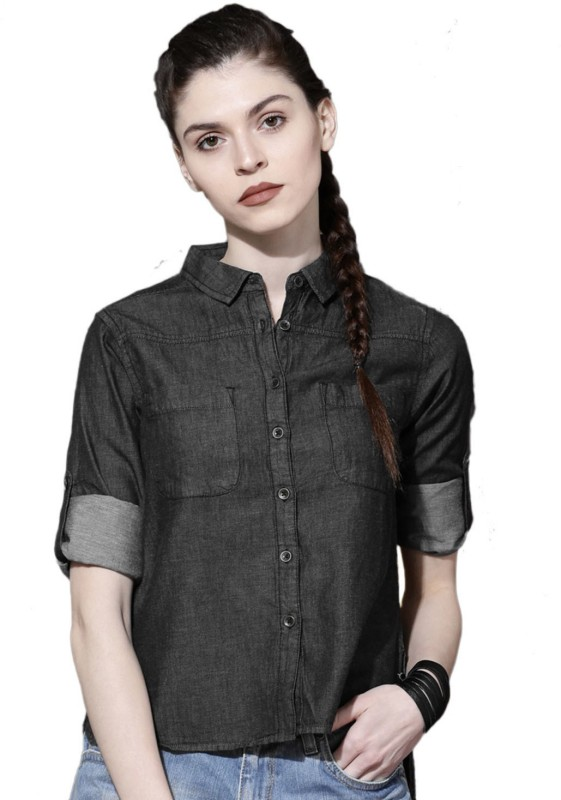 Roadster Women Solid Casual Black Shirt