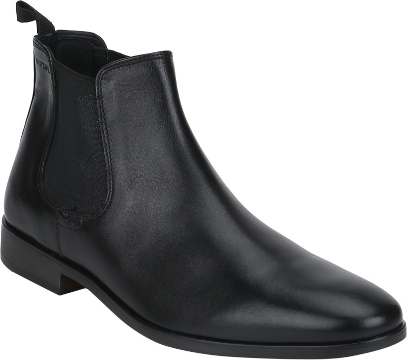Red Tape Genuine Leather Chelsea Boots For Men(Black)