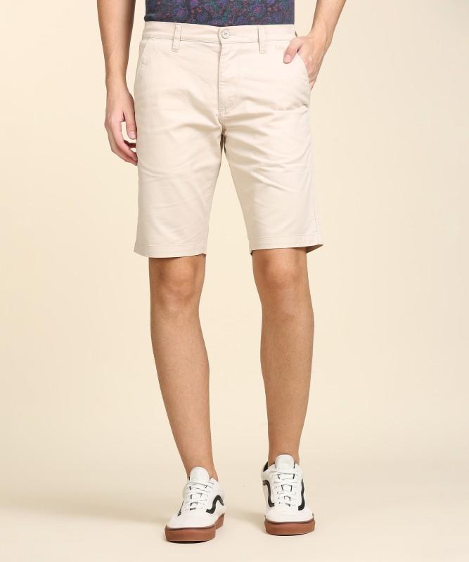 Lee Solid Men Beige Regular Shorts