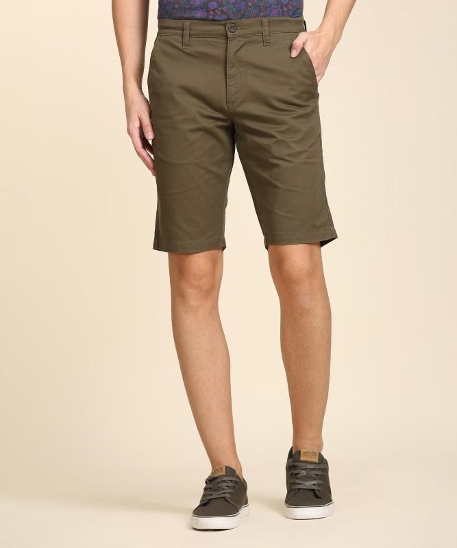 Lee Solid Men Green Chino Shorts