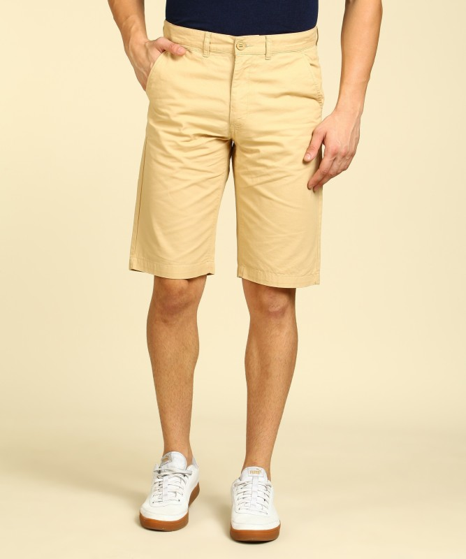 Peter England Solid Men Beige Chino Shorts