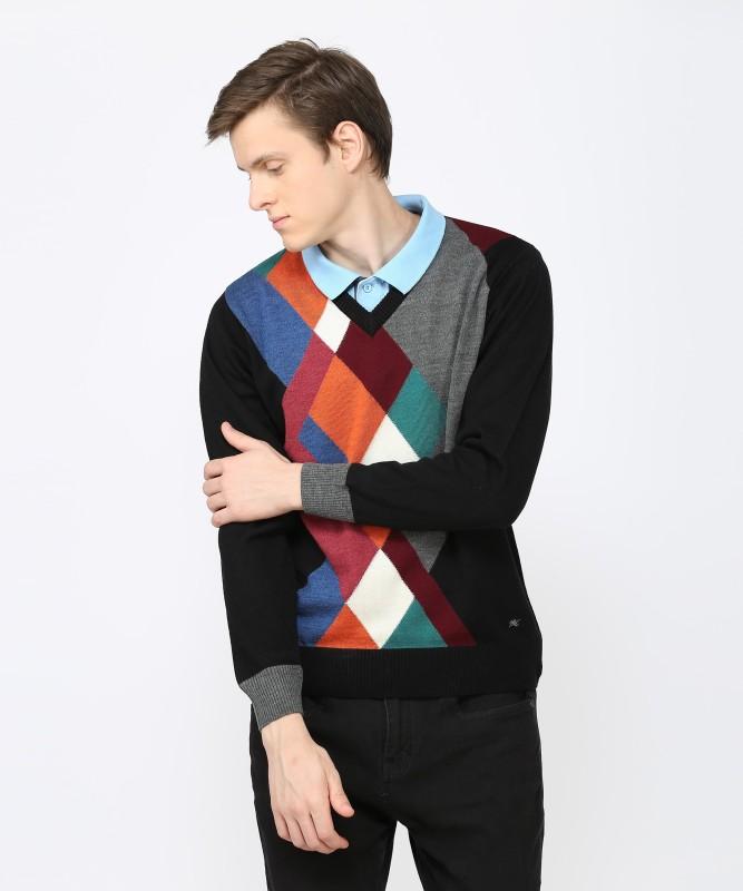 Monte Carlo Argyle V-neck Casual Men's Multicolor Sweater