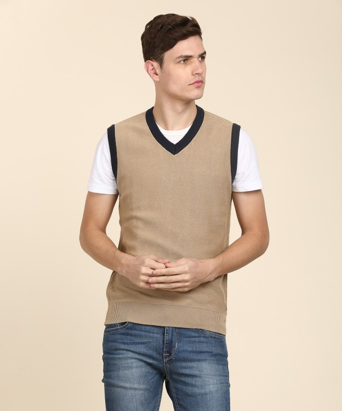 Indian Terrain Solid V-neck Casual Mens Beige Sweater