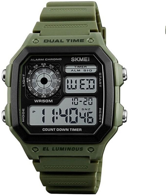 Skmei Military Green Men's Dual Time LED Sports Square Digital Wrist Women's Watch Fashion Waterproof Women's Watch image