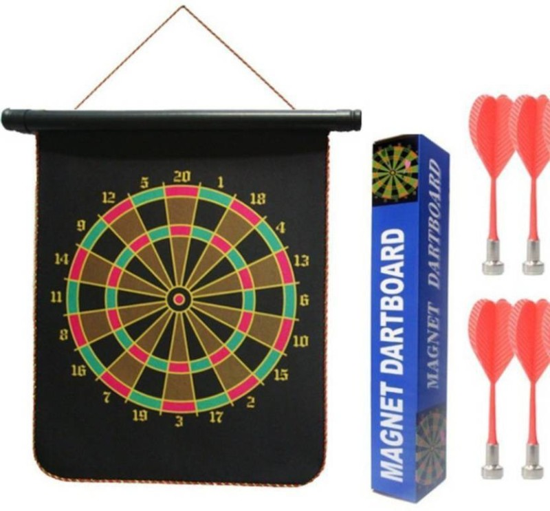 Lord Magnetic Roll-up Dart Board With Darts (15 inch) Board Game 15 inch Dart Board(Black)