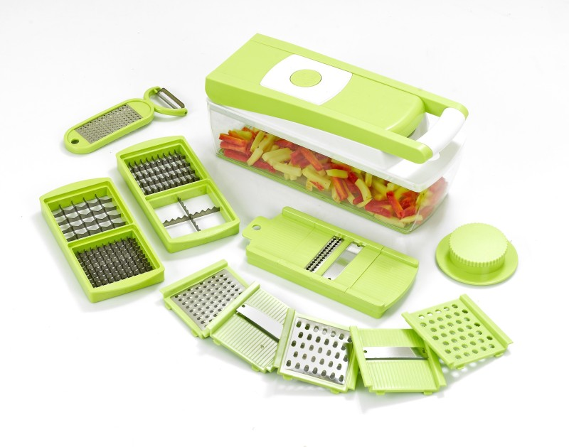 Ganesh 14 in one Quick Dicer Vegetable & Fruit Grater & Slicer(6 Nos. Slicing & Grating Blades, 1 No 2 in 1 Peeler With Grater, Main Unit With Cointainer, 1 Safety Holder, 2 Nos. 2i in 1 Dicing Blades)