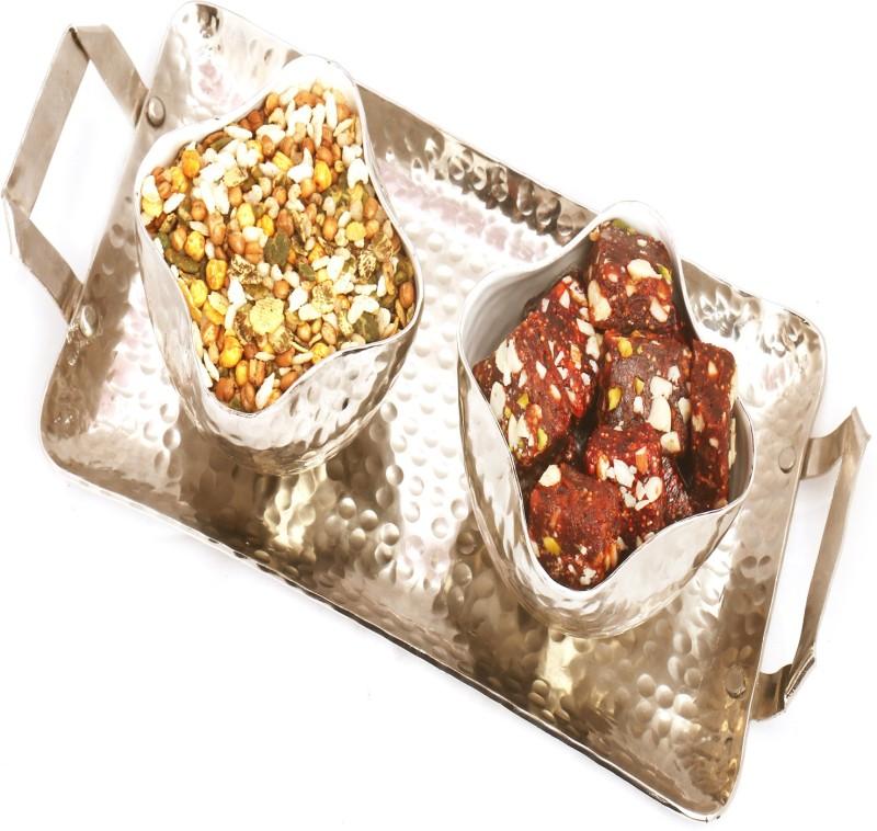 Ghasitaram Gifts Diwali Gifts - Hampers Silver Aluminium Sugarfree Dates, Figs Bites and Protein Mix Namkeen Tray Combo(5)