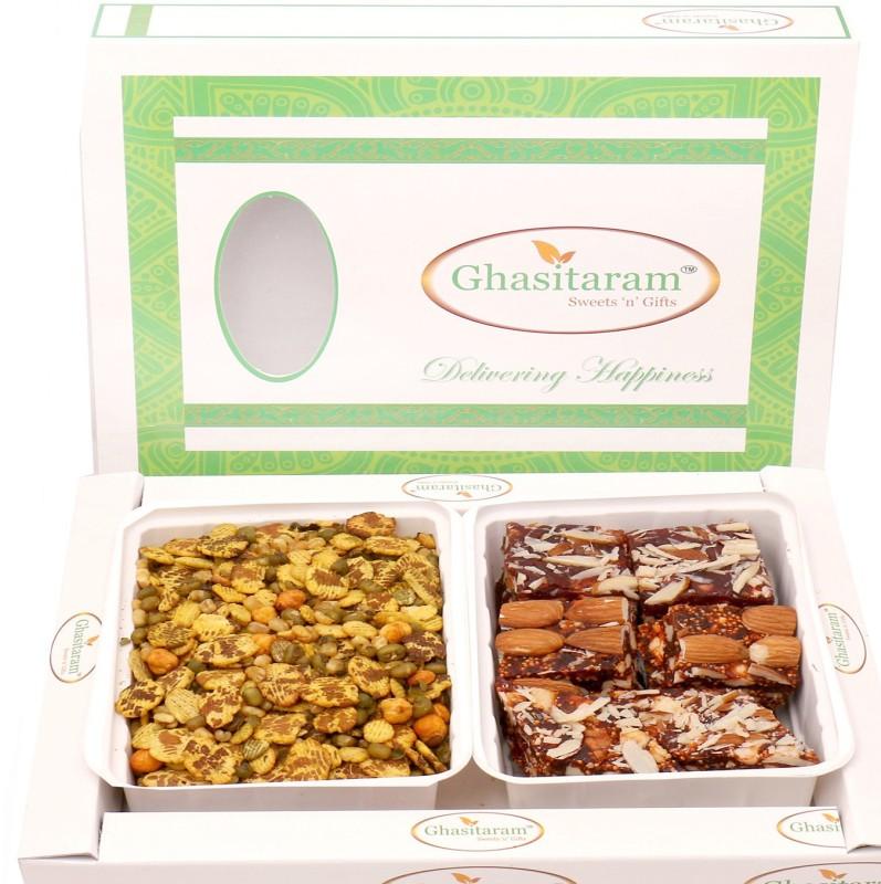 Ghasitaram Gifts Diwali Gifts - Hampers Diet Protein Mix Namkeen with Natural Sugarfree Mix Hamper Combo(3)