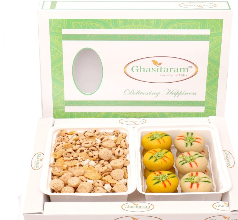Ghasitaram Gifts Diwali Gifts - Hampers Multigrain Mix Namkeen with Sugarfree Mawa Peda Hamper Combo(3)