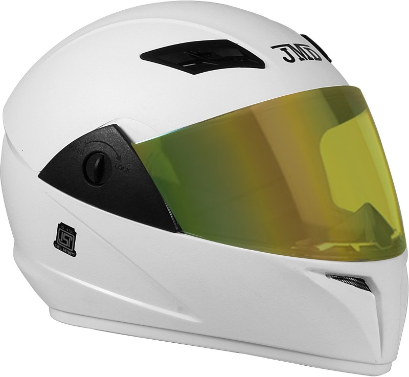 JMD Trusty Full Face Helmet with Mirror Visor (M-SIZE) (White, Natural) Motorbike Helmet(White)