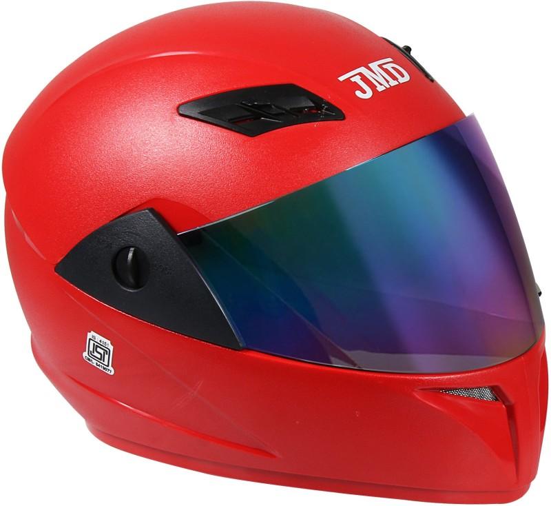 JMD Trusty Full Face Helmet With Mirror Visor (M) (RED, Natural) Motorbike Helmet(Red)