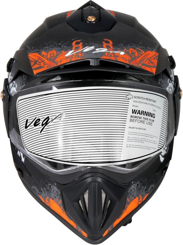 VEGA Off Road Gangster S/V (Dull Black and Orange, M) Motorbike Helmet(Dull Black, Orange)