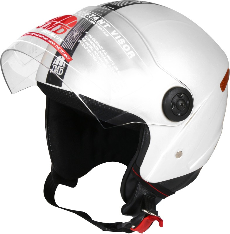 JMD Grand New White( With Reflector) M-Size Motorbike Helmet(White)