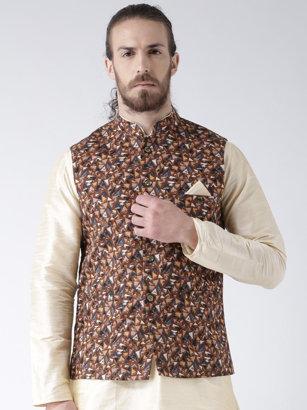Deyann Sleeveless Geometric Print Men Linen Jacket