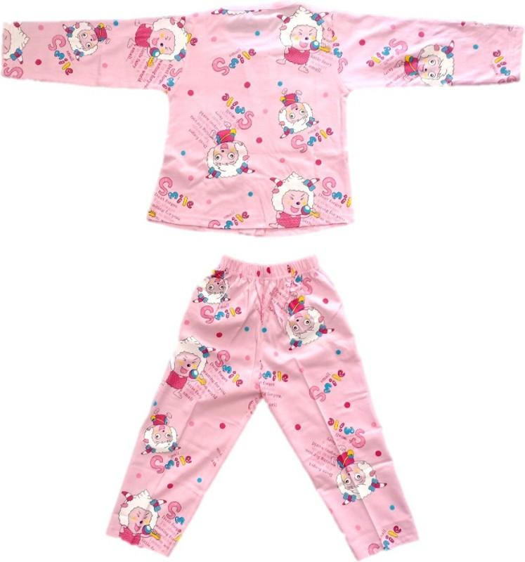 Angel Kids Nightwear Girls Printed Cotton(Pink Pack of 1)