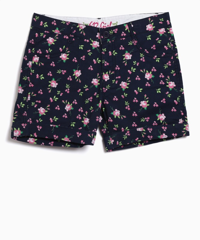 612 League Short For Girls Casual Floral Print Cotton(Blue, Pack of 1)