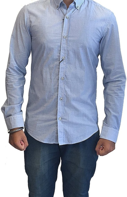 Hugo Boss Men Solid Casual Blue Shirt