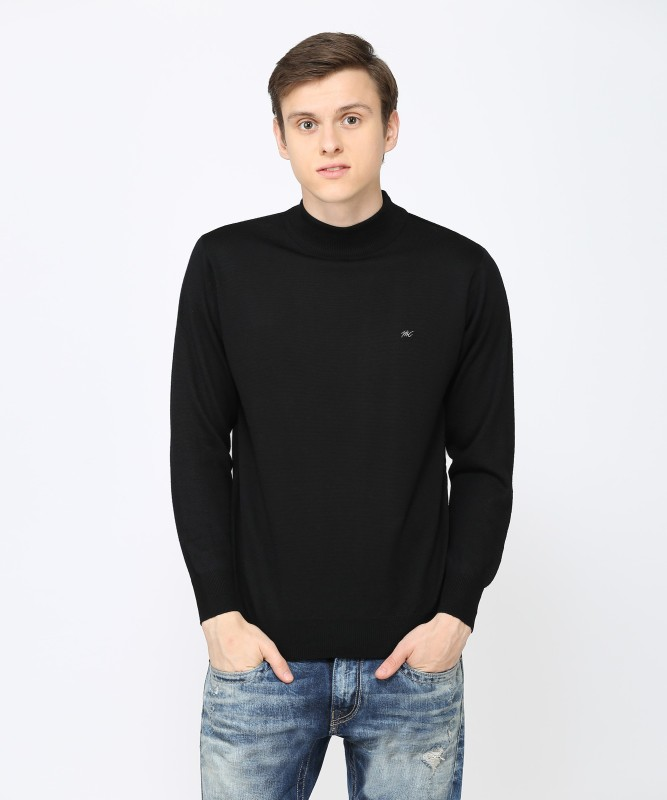 Monte Carlo Solid Turtle Neck Casual Mens Black Sweater