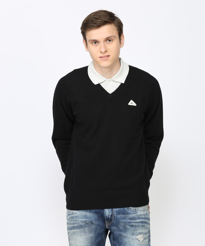 Monte Carlo Solid V-neck Casual Mens Black Sweater