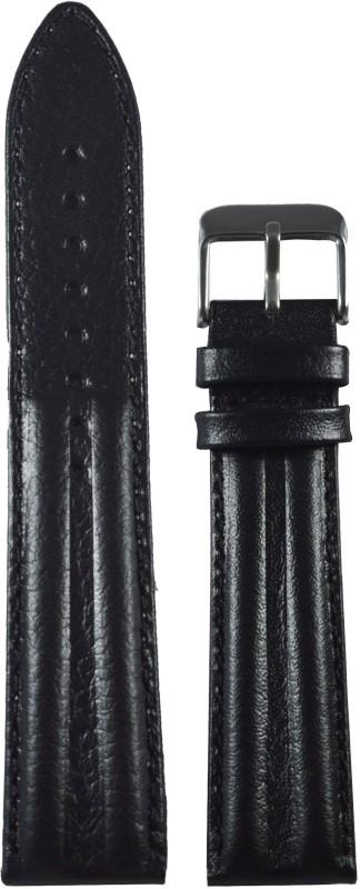 Kolet Half Padded 20 mm Leather Watch Strap(Black)
