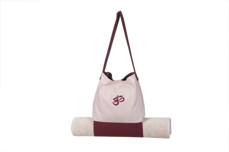 Kanyoga Cotton Hemp Mix Om Printed Bag With Yoga Mat Holder(30cm x 30cm) Yoga Blocks(Beige, Brown Pack of 1)