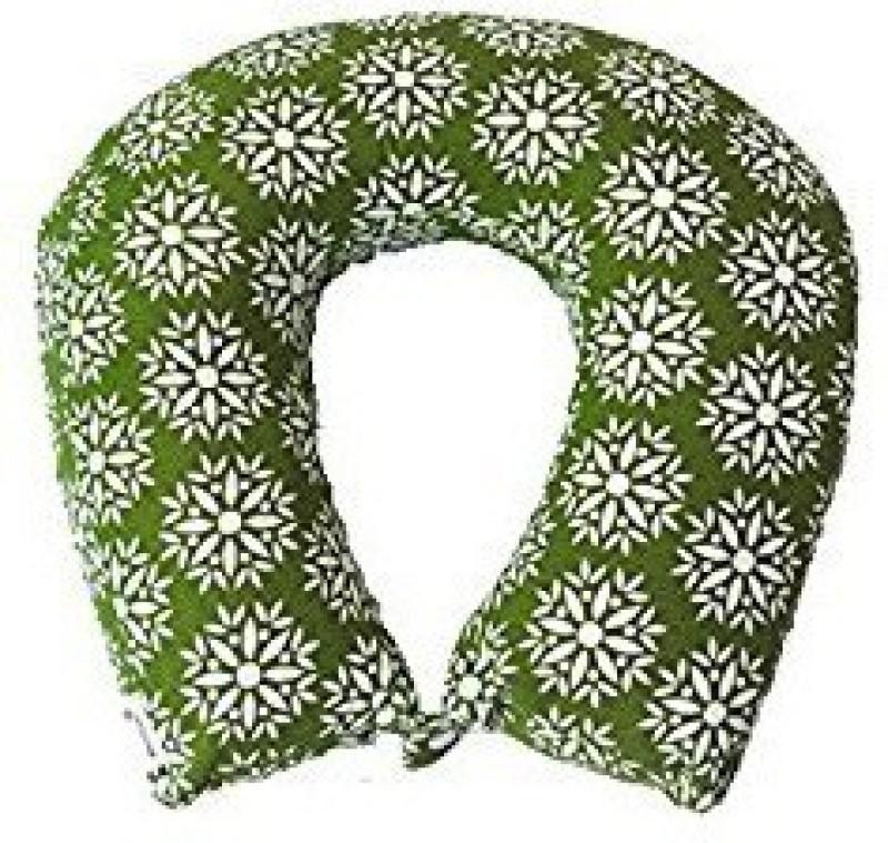 Kanyoga Memory Foam Filling Printed Relaxing Travel Neck Pillow (29cm x 11cm x 9cm) Yoga Blocks(Green, White Pack of 1)