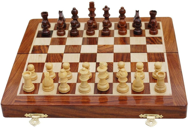 QUINERGYS Wooden Chess Set, Folding Classical Chess Set for Kids Adults 18 inch Chess Board(Beige)