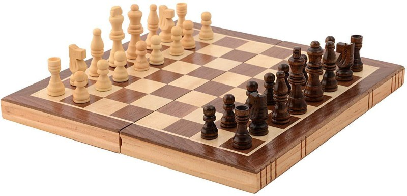 QUINERGYS Inlaid Walnut-Style Wood Chess Set 18 inch Chess Board(Multicolor)