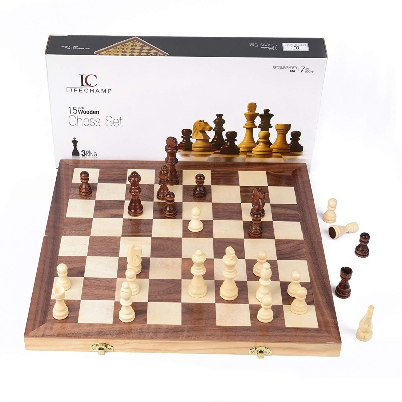 QUINERGYS Tournament Chess Board with Inlaid Walnut and Maple Wood 15 inch Chess Board(Beige)