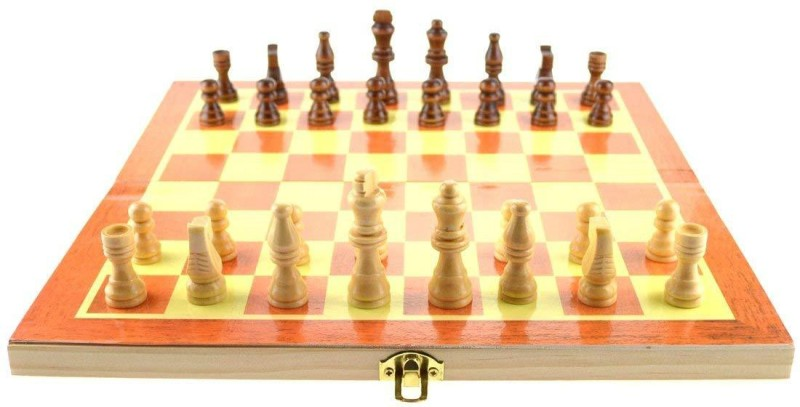 QUINERGYS Premium Handmade Wooden Foldable Chess Game Board with Storage Slots 15 inch Chess Board(Multicolor)