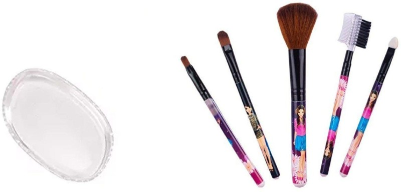 Bueno Combo Of Makeup Brushes And Silicon Sponge(Set of 6)
