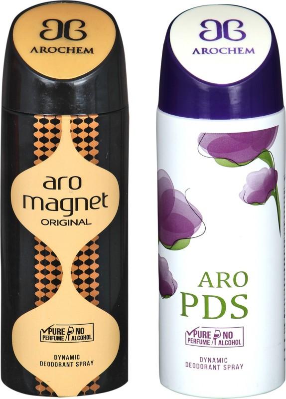 arochem COMBO ARO MAGNET & ARO PDS DYNAMIC DEODORANT SPRAY Deodorant Spray - For Men & Women(400 ml, Pack of 2)
